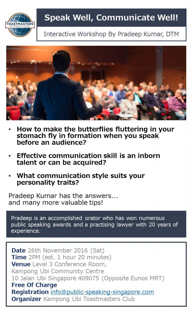 Speak Well, Communicate Well Interactive Workshop